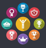 Rewards and Trophy Signs. Illustration Flat Icons Set of Rewards and Trophy Signs, Long Shadow Design - Vector Stock Images