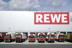 Trucks at REWE distribution center. royalty free stock photography