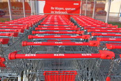 Rewe shopping carts Royalty Free Stock Photos