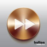 Rewind forward bronze button with white symbol. Round minus button with white symbol and brushed bronze texture isolated on gray background Royalty Free Stock Image