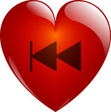 Rewind. Glassy Heart. Rewind. Glassy Red Heart Button on White. Isolated with Clipping Path Royalty Free Stock Image