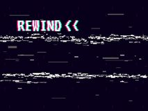 Rewind glitch background. Retro VHS template for design. Glitched lines noise. Pixel art 8 bit style. Vector. Illustration Stock Image
