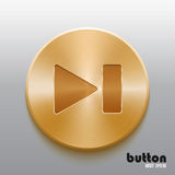 Rewind next golden button. Forward next round button with brushed golden metal texture isolated on gray background Royalty Free Stock Photography