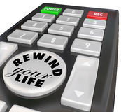 Rewind Your Life Fix Correct Problem Redo Bad Decision. Rewind Your Life words on a remote control to correct a problem or redo a bad choice or decision in your Royalty Free Stock Image