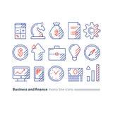 Rewizj usługa, pieniężny konsultować, pieniądze strategii inwestycyjnej pomysł, kreskowa ikona Fotografia Stock