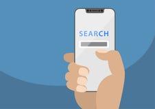 Rewizja app wystawiająca na bezszkieletowym ekranie sensorowym Wektorowa ilustracja trzyma nowożytnego bezpłatnego smartphone ręk Zdjęcia Royalty Free
