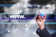 Rewizja bar z Www tekstem Strona internetowa, URL Cyfrowego marketing kolor tła pojęcia, niebieski internetu Obraz Stock