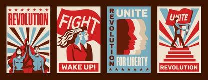Rewolucja plakaty Ustawiający ilustracja wektor
