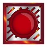 Rewolucjonistka alarm, sieć błyszczący guzik z metali elementami, tło, wektor Fotografia Stock