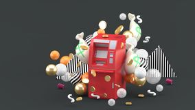 Rewolucjonistka ATM wśród kolorowych piłek na szarym tle i pieniądze ilustracja wektor