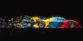 Rewolucjonistka, błękit i żółty multicolor super samochód, - neonowy wielobok wlec royalty ilustracja