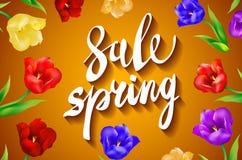 Rewolucjonistka, błękit, purpura, Żółta tulipanowa wiosna kwitnie bukiet dla sprzedaży również zwrócić corel ilustracji wektora Zdjęcie Royalty Free