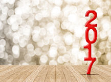 Rewolucjonistka 2017 rok drewna liczba w perspektywicznym pokoju z iskrzastym bokiem Fotografia Stock