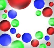 Rewolucjonistki błękita 3D zielone piłki, kolorowy tło Zdjęcia Royalty Free