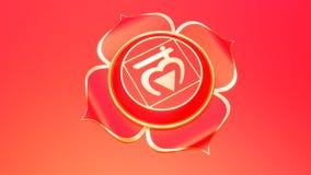 Rewolucjonistki Chakra muladhara symbolu Korzeniowy pojęcie hinduizm, buddyzm, Ayurveda Podstawowy zaufania 3d rendering ilustracji