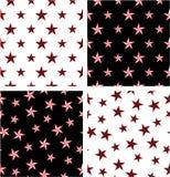 Rewolucjonistki & czerni koloru Duży & Mały Nautyczny Gwiazdowy Bezszwowy wzoru set Wyrównujący & Przypadkowy ilustracji
