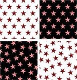 Rewolucjonistki & czerni koloru Nautycznej gwiazdy Bezszwowy wzoru set Wyrównujący & Przypadkowy ilustracja wektor