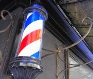 Rewolucjonistki i białej błękitna tricolor butla zakład fryzjerski zdjęcie stock