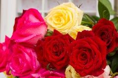 Rewolucjonistki i menchii róże na stole Zdjęcie Royalty Free