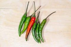 Rewolucjonistki i zieleni chili pieprz na koszykowym drewnie Zdjęcie Stock