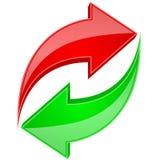 Rewolucjonistki i zieleni strzała w kółkowym ruchu Przetwarza 3d symbol lub odświeża ilustracji