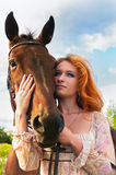 Rewolucjonistki kierownicza dziewczyna i koń Obrazy Royalty Free