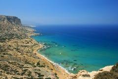 Rewolucjonistki plaża w Matala, Crete, Grecja obraz royalty free