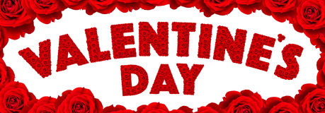Rewolucjonistki róży kwiatu set w słowa Valentine's dniu Obrazy Stock