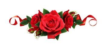 Rewolucjonistki róża kwitnie i jedwabniczy faborki w kreskowym przygotowania Obrazy Royalty Free