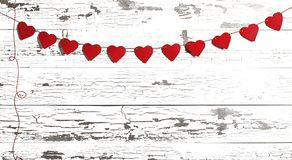 Rewolucjonistki walentynki Papierowi serca na Białym drewnie Obrazy Royalty Free