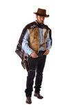 Rewolwerowiec w starym dzikim zachodzie na białym tle Zdjęcia Stock