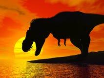 Rex de tyrannosaure par coucher du soleil - 3D rendent Photographie stock