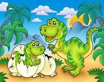 Rex de Tyrannosaurus dans l'horizontal Photographie stock