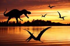 Rex de Tyrannosaurus et pterodactyl deux Photos stock