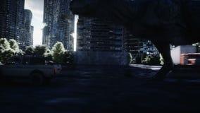 Rex do dinossauro que corre atrás do carro na cidade destruída Apocalipse dos dinossauros Conceito do futuro Animação 4K realísti ilustração do vetor