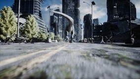 Rex do dinossauro que corre atrás do carro na cidade destruída Apocalipse dos dinossauros Conceito do futuro Animação 4K realísti ilustração stock