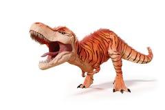 Rex do tiranossauro, dinossauro de T-rex da ilustração do período jurássico 3d isolada no fundo branco Fotografia de Stock Royalty Free