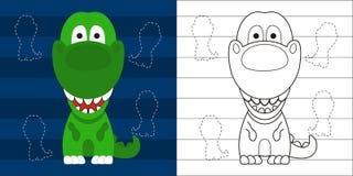 Rex pequeno bonito da página t da coloração para o personagem de banda desenhada da educação Fotografia de Stock Royalty Free