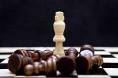 Rey blanco y pedazos negros en el tablero de ajedrez Imagen de archivo