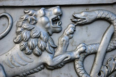 Rey Cannon del cañón del zar en Moscú el Kremlin, cabeza del león Foto de archivo libre de regalías