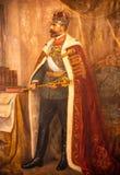 Rey Carol la primera pintura dentro del palacio real de Bucarest, historia rumana foto de archivo