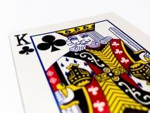 Rey Clovers/tarjeta de los clubs con el fondo blanco Fotografía de archivo