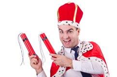 Rey con los palillos de la dinamita aislados Fotografía de archivo libre de regalías