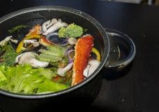 Rey Crab Dishes Soup Imagen de archivo