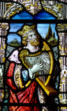 Rey David con la arpa en vitral imagenes de archivo