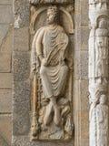 Rey David del Romanesque en la fachada de Platerias Imagen de archivo