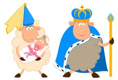 Rey de ovejas en una corona con una princesa Imágenes de archivo libres de regalías