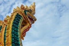 Rey del aislante de los Nagas en el fondo verde, bola de fuego de los Nagas Imagen de archivo libre de regalías