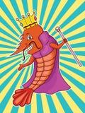 Rey del camarón con la corona, el traje y la historieta del cetro stock de ilustración
