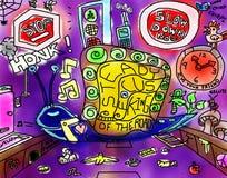 Rey del caracol de las ilustraciones caprichosas del dibujo del camino Imágenes de archivo libres de regalías